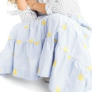 J. Crew Embroidered Pineapple Midi Skirt XXS